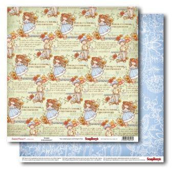 "SCRAPBERRY # SWEET HEART - DREAMS 12X12"" 180g - Дизайнерски картон 30,5 х 30,5 см."