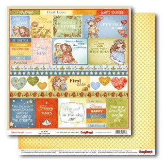 "SCRAPBERRY # SWEET HEART - YOU & ME 12X12"" 180g - Дизайнерски картон 30,5 х 30,5 см."