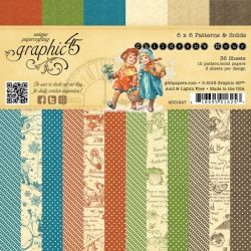 Graphic45 USA - Дизайн блок Childrens Hour 6x6 Patterns & Solids