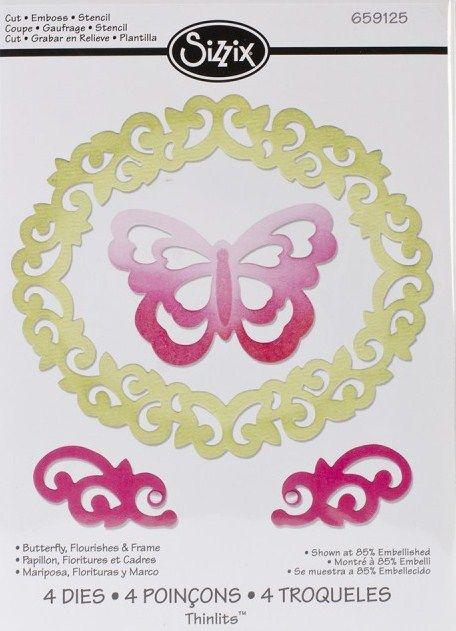 Thinlits Die Set 4PK - ЩАНЦИ 4бр Butterfly, Flourishes & Frame