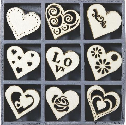 ORNAMENTS WOOD 45pcs - Дървени елементи 45бр ORN HEARTS