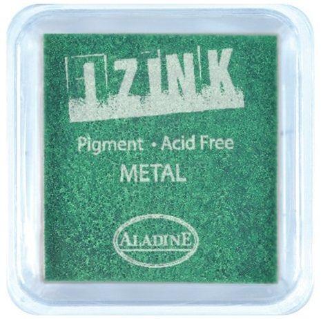 IZINK PAD PIGMENT - Среден тампон 4х4см - METAL LIGHT GREEN