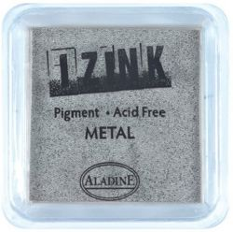 IZINK PAD PIGMENT - Среден тампон 4х4см - METAL SILVER