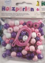 WOODEN  BEADS - Кръгли мъниста 60 гр. PURPLE / PINK