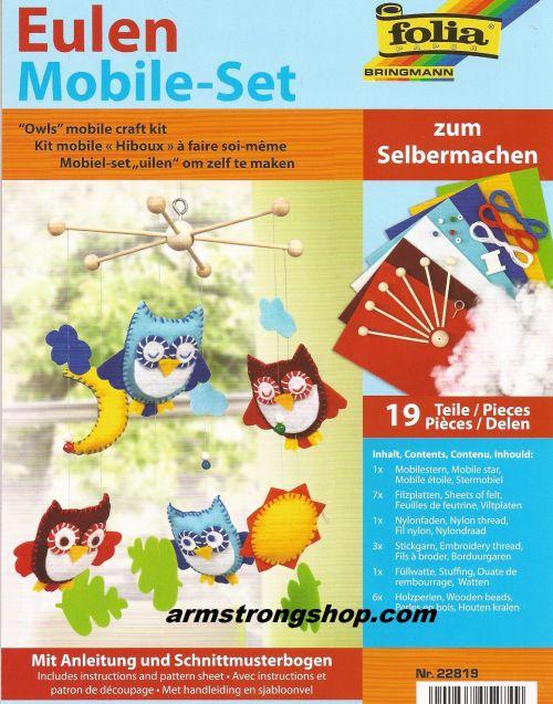 Mobile craft kit ''Owls'', 19 pieces - Folia,Germany