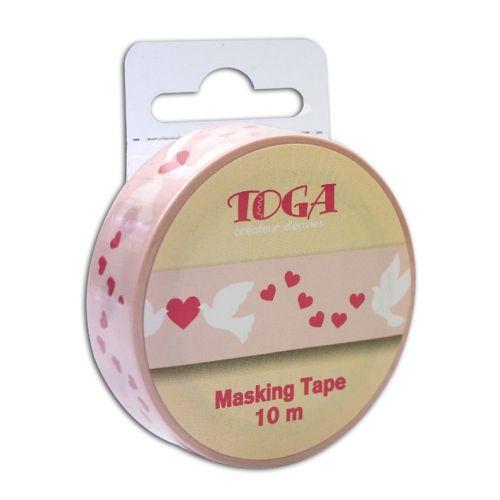MASKING RICE TAPE - Деко тиксо 10м Х 15мм. - DOVES & HEARTS
