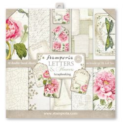 """STAMPERIA Double Face Sheets 10 Pack  - Дизайнерски блок 12""""x12"""" / LETTERS & ROSES"""