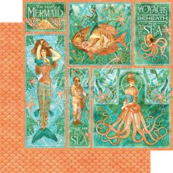 GRAPHIC45  Mermaid Melody paper  - Дизайнерски скрапбукинг картон 30,5 х 30,5 см.