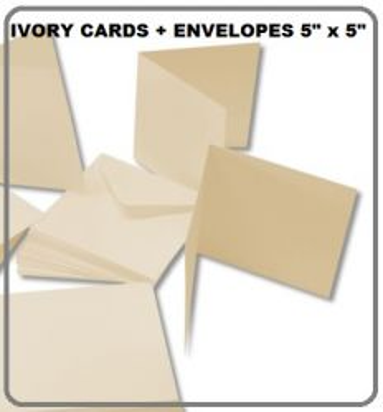 """IVORY cards & envelopes 5"""" х 5"""" - 50  картички и пликове 12.5 x 12.5 ШАМПАНСКО"""