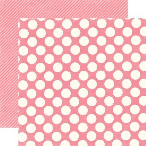 BUBLEGUM LARGE DOT - Дизайнерски скрапбукинг картон 30,5 х 30,5 см.
