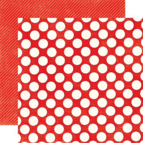RUBY RED LARGE DOT - Дизайнерски скрапбукинг картон 30,5 х 30,5 см.