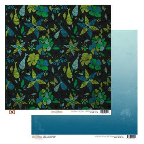 GLITZ PAPER FLORAL ,USA 12 X 12  - Дизайнерски скрапбукинг картон 30,5 х 30,5 см.