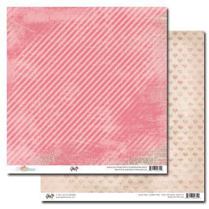GLITZ BEAUTIFUL DREAMER STRIPE ,USA 12 X 12  - Дизайнерски скрапбукинг картон 30,5 х 30,5 см.
