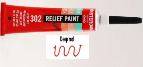 DECORFIN RELIEF, Talens 20ml - Контур за стъкло и др. повърхности - Червено