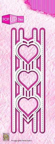 "Pop-up dies ""3 hearts""  15 x 4,2 cm - 3D щанца за рязане и релеф, 1бр. pop 006"