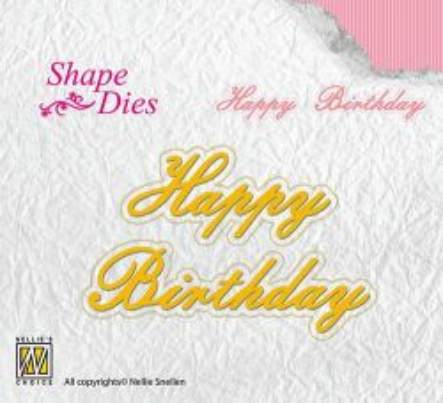 "Nellie Snellen - Shape Dies texts ""Happy Birthday"" -Орнаментни щанци за рязане"