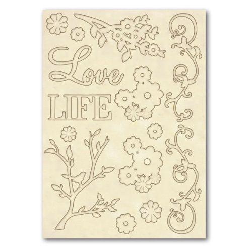 DECO WOODEN SHAPES A5 Love & Life   - Декоративнии Дървени елементи 14бр