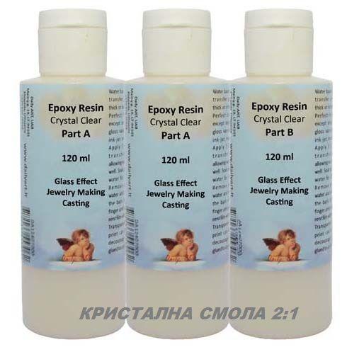 CRYSTAL EPOXY RESIN 240ml  + 120ml . - Кристалнa смола за бижута и отливки