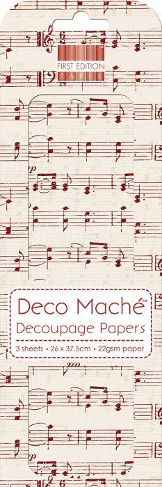 RED MUSIC NOTES DECOMACHE - Декупажни хартии 22gsm Paper, 3бр (26x37.5cm)