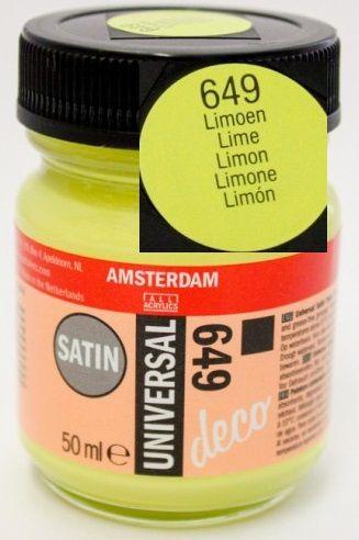 DECORFIN Universal satin, TALENS - Екстра фин акрил 50 ml, 649 LIME