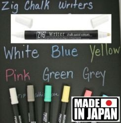 ZIG CHALK WRITER * JAPAN - Фин двувърх маркер 0.5 и 1,2 мм PASTEL WHITE