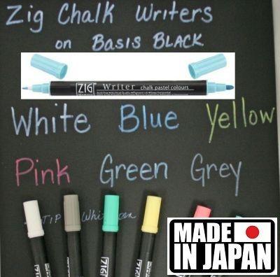 ZIG CHALK WRITER * JAPAN - Фин двувърх маркер 1.00 и 1,2 мм PASTEL BLUE