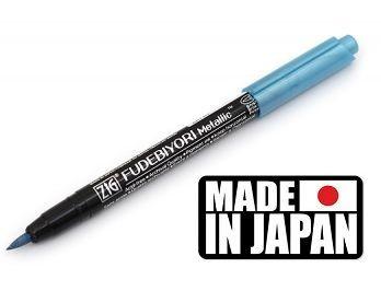 FUDEBIYORI BRUSH PEN * JAPAN - Металиков маркер четка METALLIC BLUE