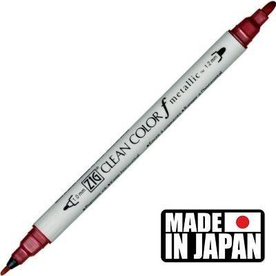 ZIG CLEAN COLORf  * JAPAN - Фин двувърх маркер 1.00 и 1,2 мм METALLIC RED