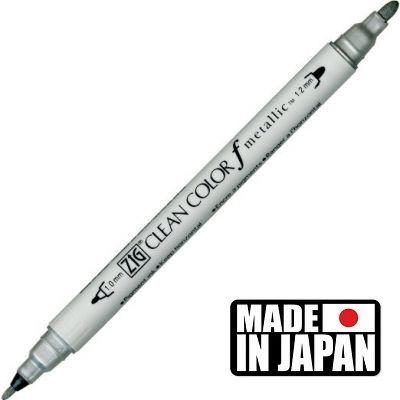 ZIG CLEAN COLORf  * JAPAN - Фин двувърх маркер 1.00 и 1,2 мм SILVER
