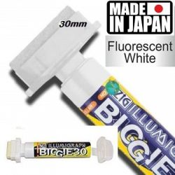 ILLUMIGRAPH FLUОRESCENT BIGGIE 30  - БЯЛ НЕОНОВ МАРКЕР  30мм. Made in Japan