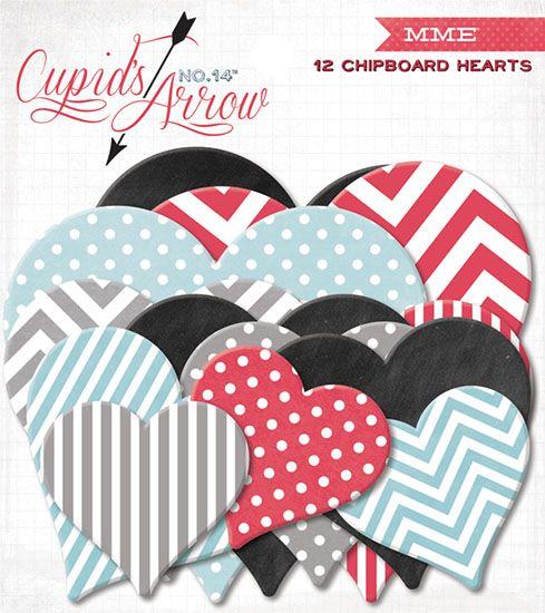 CUPIDS ARROW chipboard HEARTS - Декоративни ЧИПБОРД СЪРЦА 12 бр