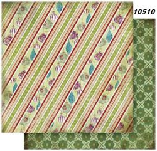 FB Christmas 10 - Дизайнерски картон с ембос-глитер елементи - 30,5 Х 30,5 см.
