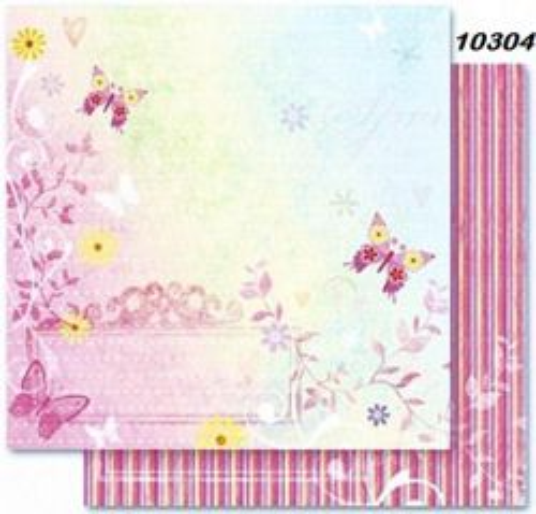FB Romance 04 - Дизайнерски картон с ембос-глитер елементи - 30,5 Х 30,5 см.