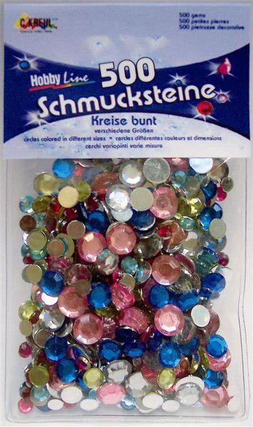 ACRYLIC CRYSTALS - Призматични камъчета-кръгчета, микс размери - цветни 500 бр.