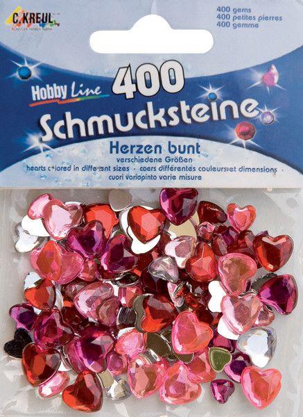 ACRYLIC CRYSTALS - Призматични камъчета-сърца, микс размери - цветни 400 бр.
