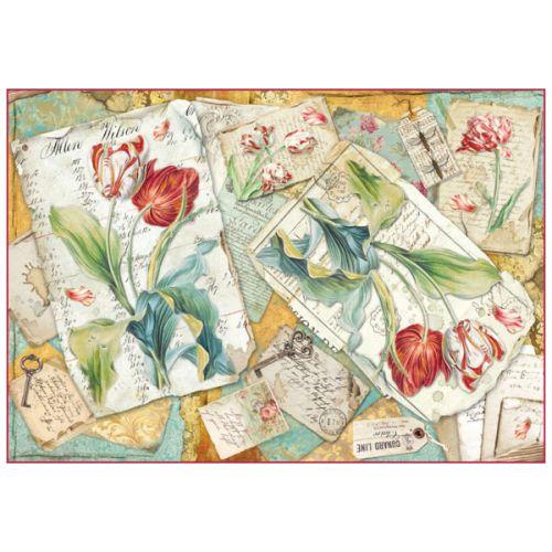 STAMPERIA RISO, Italy - Оризова декупажна хартия 48 х 33 см. - Tulipani
