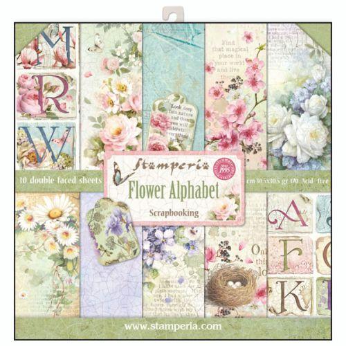 "STAMPERIA Double Face Sheets 10 Pack  - Дизайнерски блок 12""x12"" / Face Flower Alphabet"