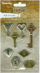 Crafts Too Vintage Selection - Keys & Locks 8pcs