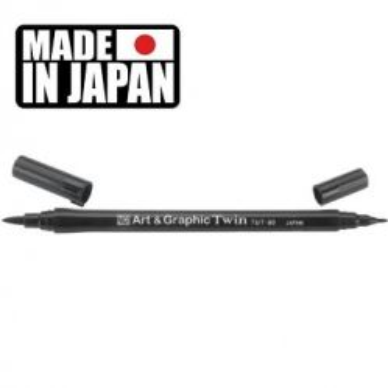 ZIG Art & Graphic, Japan - Двувърх акварелен тип маркер - №9 черен