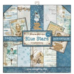 """STAMPERIA Double Face Sheets 10 Pack  - Дизайнерски блок 12""""x12"""" / Blue stars"""