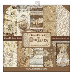 """STAMPERIA Double Face Sheets 10 Pack  - Дизайнерски блок 12""""x12"""" / Old lace"""