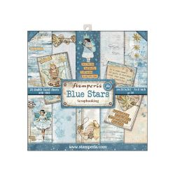 """STAMPERIA Double Face Sheets 20 Pack  - Дизайнерски блок 8""""x8"""" / Blue stars"""