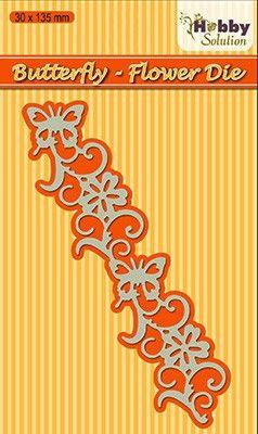 "Hobby Solution dies ""Butterfly-flower   - Фигурална щанца за рязане и релеф HSDJ009"
