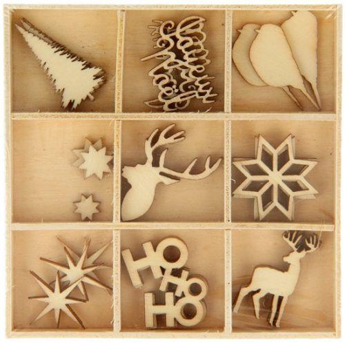 DECO ELEMENTS HANGING - Дървени елементи 27бр `CHRISTMAS SCOTT`