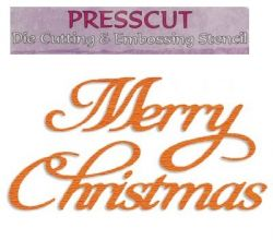 PRESSCUT  Cutting and Embossing Stencils - Merry Christmas, 4,4x8,2 cm