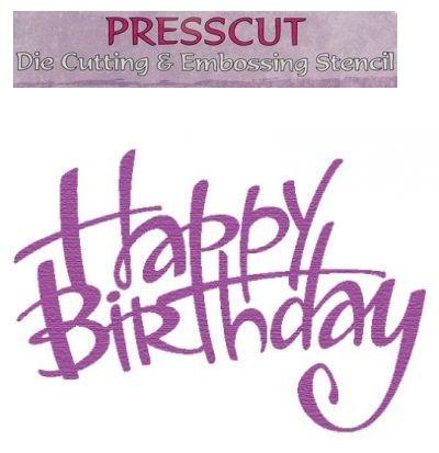 PRESSCUT Cutting and Embossing Stencils - Happy Birthday #1, 5,7x7,5 cm