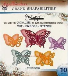 BUTTERFLIES Spellbinders USA GRAND - Метални щанци за изрязване и ембос