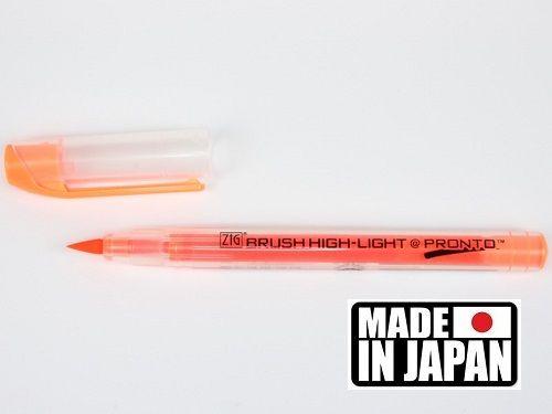 ZIG BRUSH HI LITE PRONTO * JAPAN - Флуорисцентен маркер четка ORANGE