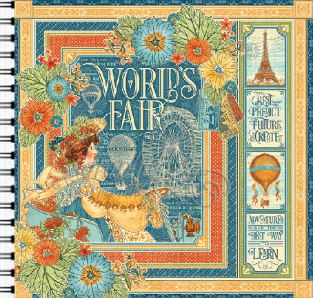 "ALBUM SCRAPBOOKING ""WORLD FAIR"" - Дизайнерски скрапбукинг албум 36 страници 30,5х30,5 см"