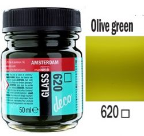 Decorfin Glass, TALENS - Витражна боя от най-високо качество, 50 мл. - Маслинено зелено